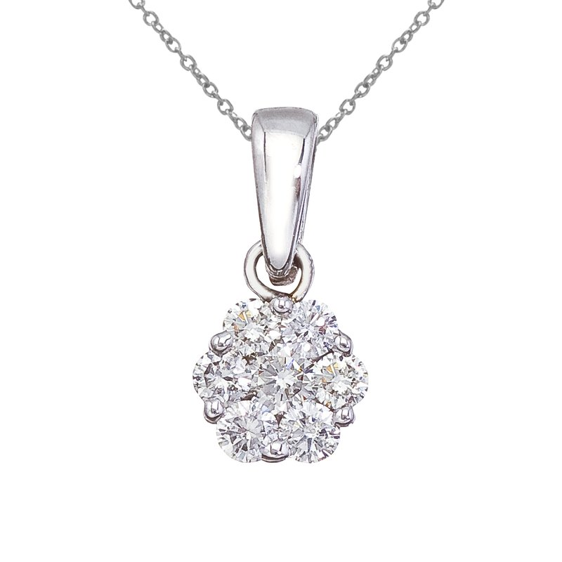Color Merchants 14K White Gold .50 Ct Cluster Diamond Pendant