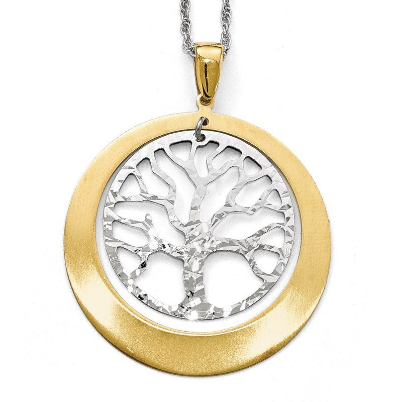 Leslie's Leslie's Sterling Silver and Gold-tone Textured Tree Pendant