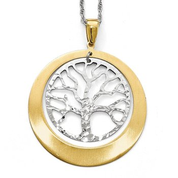 Leslie's Sterling Silver and Gold-tone Textured Tree Pendant