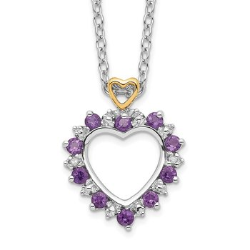Sterling Silver & 14K Rhodium Plated Amethyst & Diamond Necklace