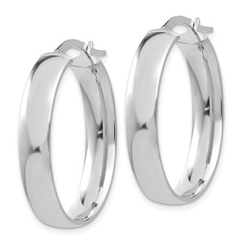 14k White Gold 5.75mm Polished Oval Hoop Earrings