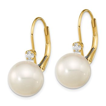 14K 9-9.5mm White Round FWC Pearl .10ct Diamond Leverback Earrings