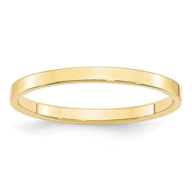 Quality Gold 10KY 2mm LTW Flat Band Size 10