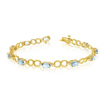 14K Yellow Gold Oval Aquamarine and Diamond Bracelet