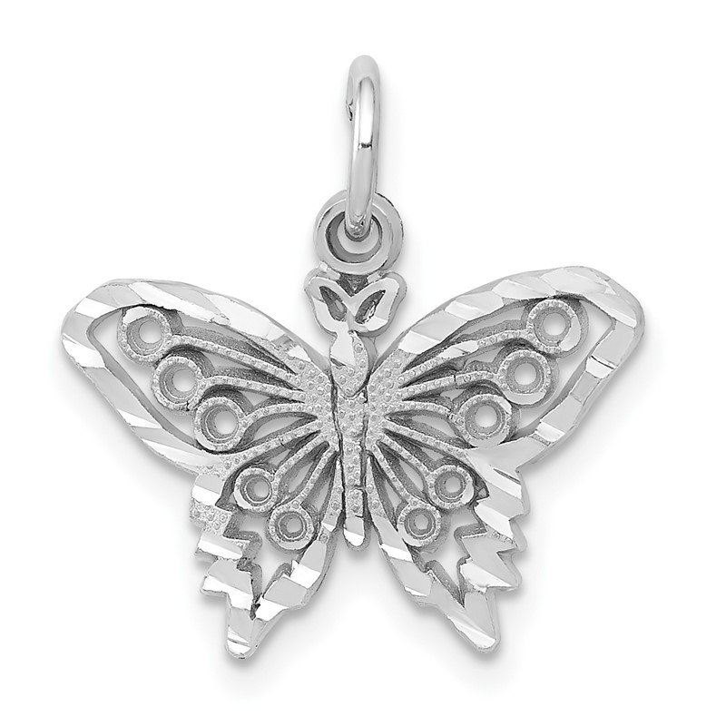 Quality Gold 14k White Gold Butterfly Charm