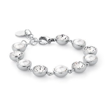 316L stainless steel, pearls and crystals Swarovski® Elements.