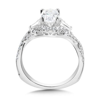 Tapered Oval and Baguette 3 Stone Diamond Engagement Ring