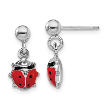 Sterling Silver Rhodium-plated Emameled Ladybug Post Dangle Earrings