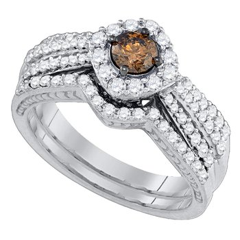 14kt White Gold Womens Round Cognac-brown Diamond Halo Bridal Wedding Engagement Ring Band Set 1.00 Cttw