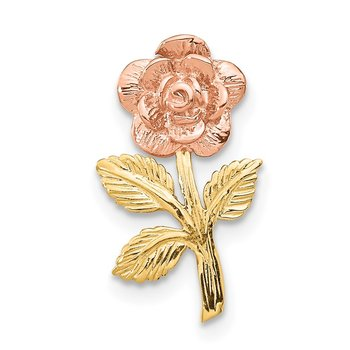 14k Two-tone Mini Pink Rose Flower Chain Slide