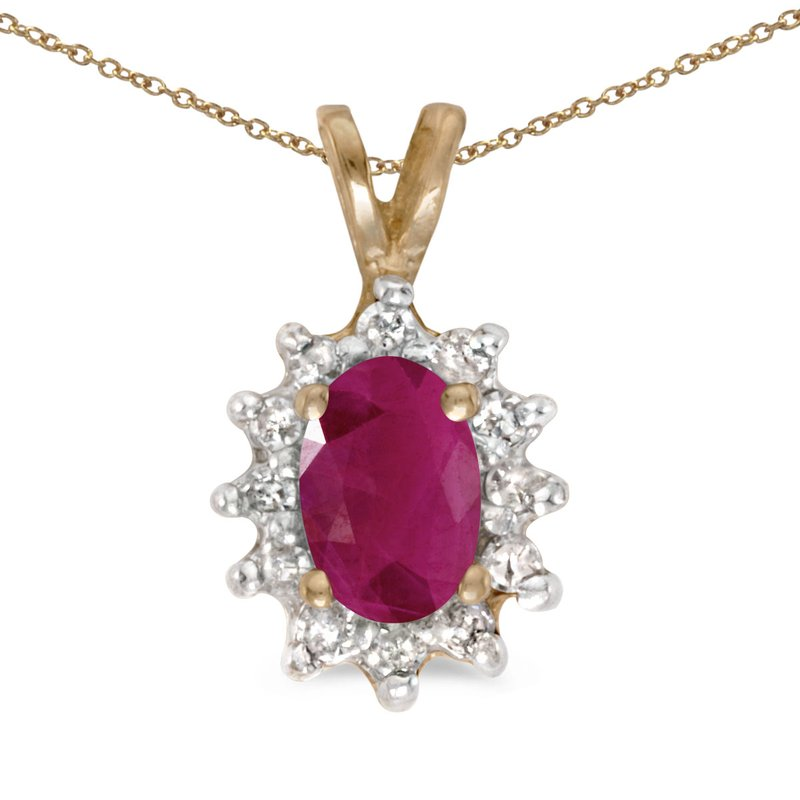 Color Merchants 14k Yellow Gold Oval Ruby And Diamond Pendant