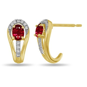 10K YG and diamond and Ruby halo style birthstone earring