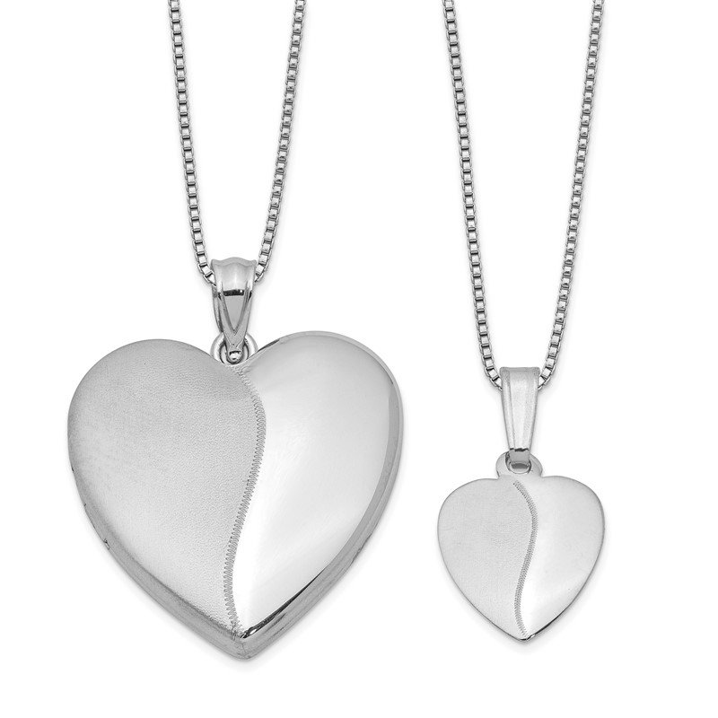Quality Gold Sterling Silver RH-plated Polished & Satin Heart Locket & Pendant Set