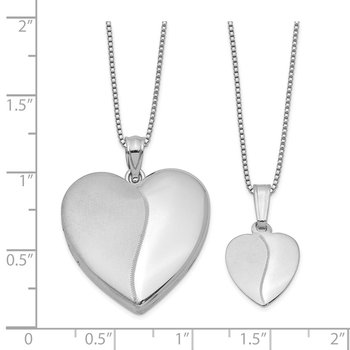 Sterling Silver RH-plated Polished & Satin Heart Locket & Pendant Set