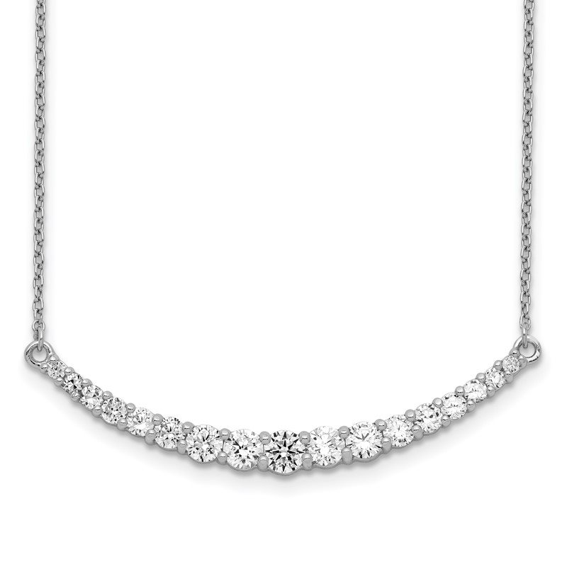 J.F. Kruse Signature Collection Sterling Silver Rhodium-plated CZ w/2in ext. Bar Necklace