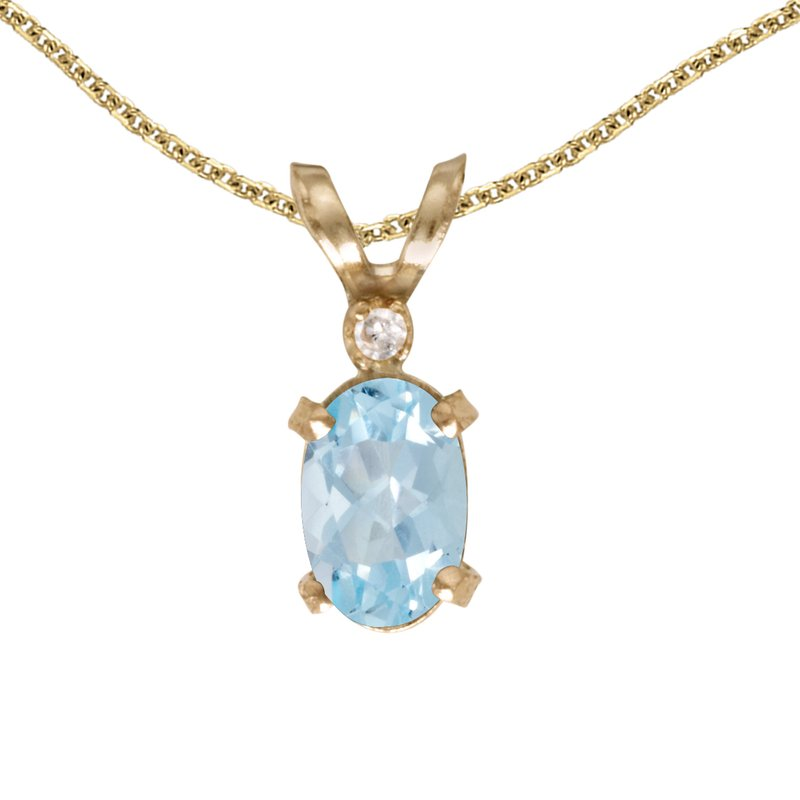 Color Merchants 14k Yellow Gold Oval Aquamarine And Diamond Filagree Pendant