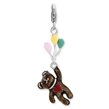 Sterling Silver Enameled 3-D Bear holding Balloons w/Lobster Clasp Charm
