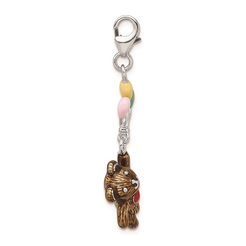 Quality Gold Sterling Silver Amore La Vita Rh-pl Enameled 3-D Bear with Balloons Charm