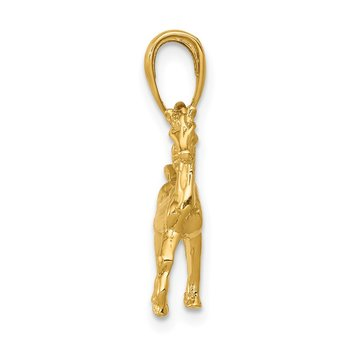 14k Solid Polished 3-D Horse Charm