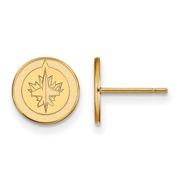 Gold-Plated Sterling Silver Winnipeg Jets NHL Earrings