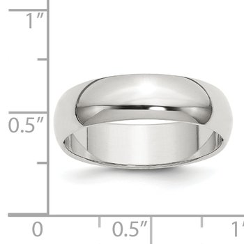 Sterling Silver 6mm Half-Round Band