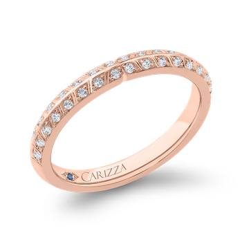 18K Rose Gold Double Row Diamond Wedding Band with Round Shank