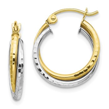 10K Two-tone Textured Twist Hoop Earrings