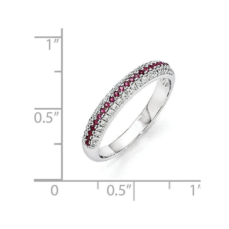 Quality Gold SS Rhodium-Plated Red & White CZ Brilliant Embers Polished Ring