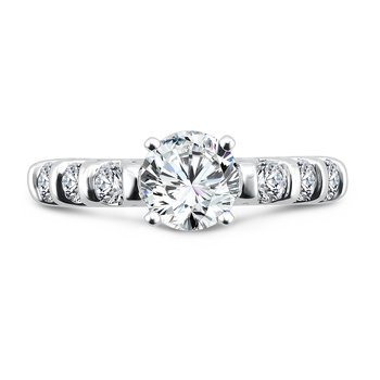 Classic Elegance Collection Engagement Ring With Side Stones in 14K White Gold with Platinum Head (1ct. tw.)