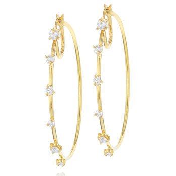 Yellow gold diamond Enchanted front closed hoop earrings