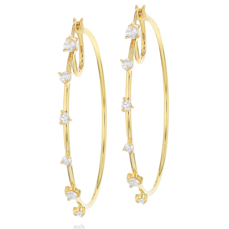 Phillips House Yellow gold diamond Enchanted front closed hoop earrings