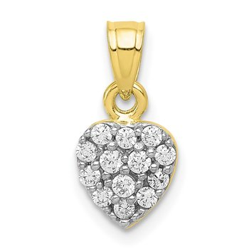 10k CZ Cluster Heart Charm