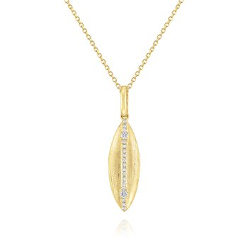 Brushed 14 Kt. Gold & Diamond Surfboard Pendant