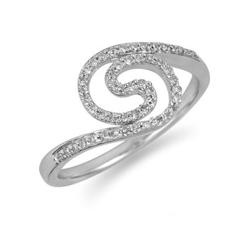 925 SS Diamond Fashion Ring with Swirl Design