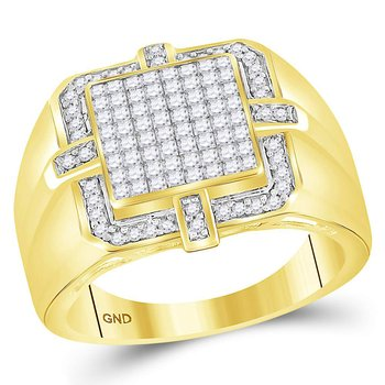 10kt Yellow Gold Mens Princess Diamond Square Frame Cluster Ring 1.00 Cttw