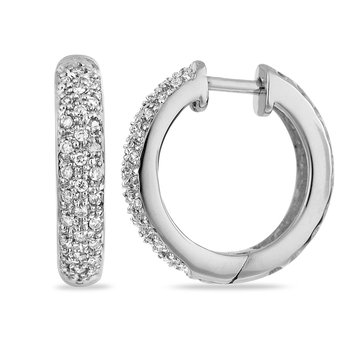 14K WG Diamond Hoops Pave Earring