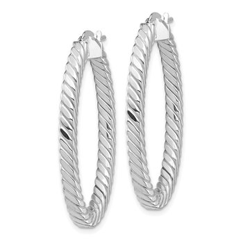 14k White Gold Polished & Twisted 3mm Square Tube Oval Hoop Earrings