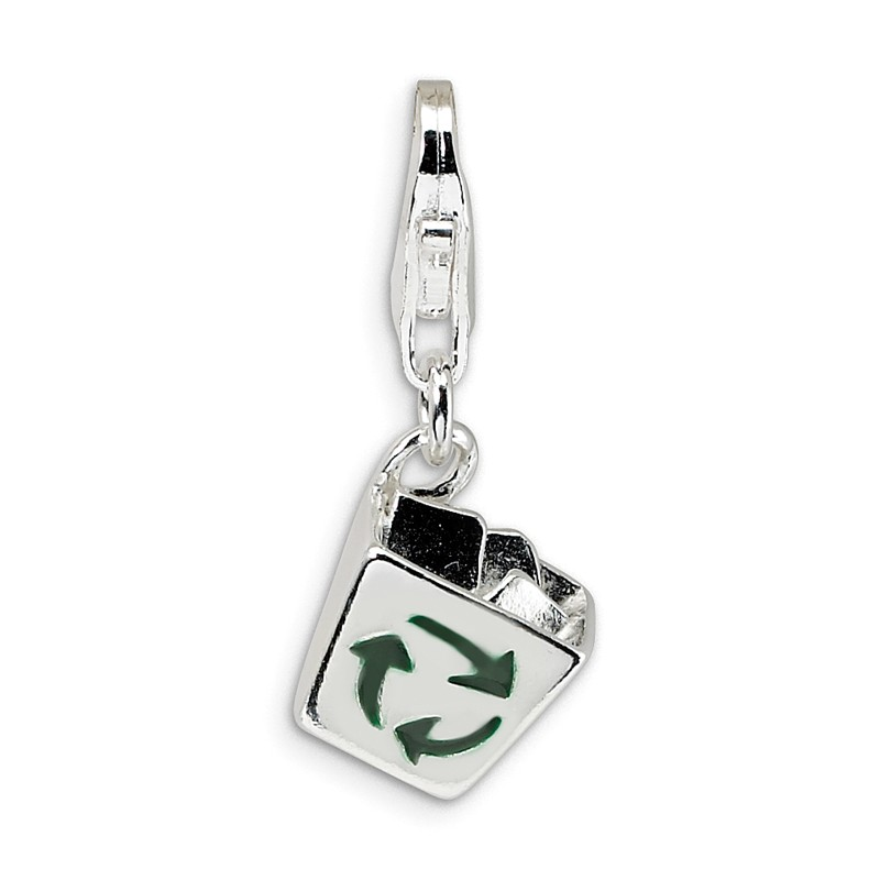 Sterling Silver 3-D Enameled I Love Can Maple Leafw//Lobster Clasp Charm