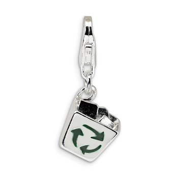 Sterling Silver Enamel Recycle Bin w/Lobster Clasp Charm