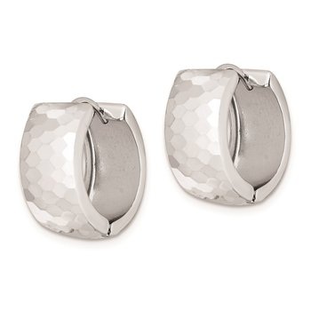 Sterling Silver Rhodium Polished Patterned Hinged Hoop Earrings