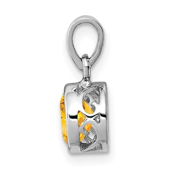Sterling Silver Rhodium-plated Polished Citrine Round Pendant
