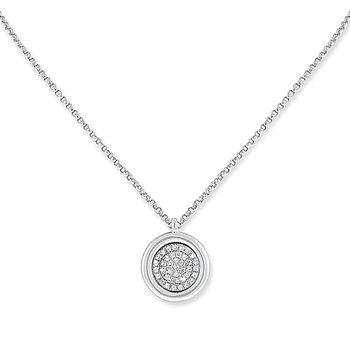 Diamond Circle Necklace in 14k White Gold with 39 Diamonds weighing .12ct tw.