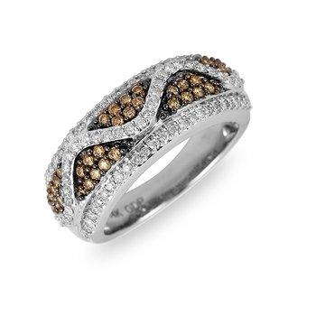 14K WG White & Champagne Diamond Wave Ring