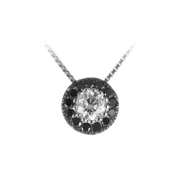 14K WG White and Black Diamond Halo Pendant