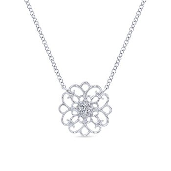 925 Sterling Silver Scrollwork Vintage Inspired White Sapphire Pendant Necklace
