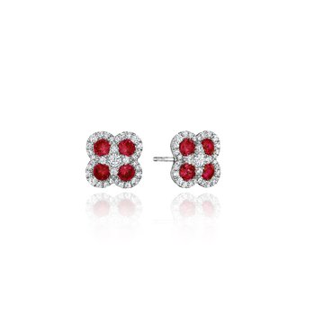 Endless Bliss Ruby and Diamond Cluster Studs