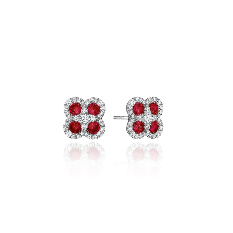 Fana Endless Bliss Ruby and Diamond Cluster Studs