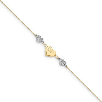 14K Two Tone Puffed MOM Heart 7in w/ 1 In Ext Bracelet