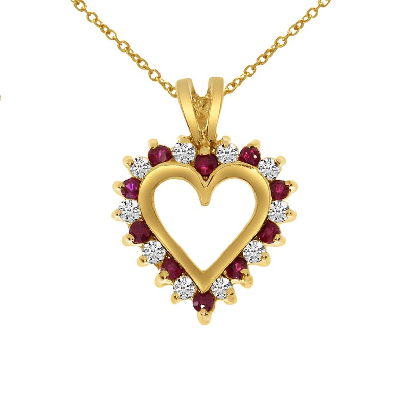 Color Merchants 14k Yellow Gold Ruby and Diamond Heart Shaped Pendant