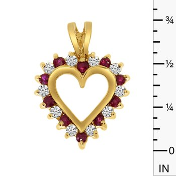 14k Yellow Gold Ruby and Diamond Heart Shaped Pendant